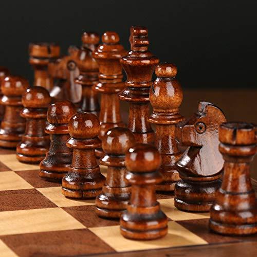 Cutfouwe Klappholz 3 in 1 Schachbrett, Schachbrett-Faltschach, Schach Mit Großem Schachbrett Für Anfänger Erwachsene Kinder,39 × 39 cm