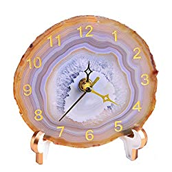 AMOYSTONE Agate Desk Clocks Office Decor Round Clocks for Bedroom Table Clock Battery Operated Nature Brown 5