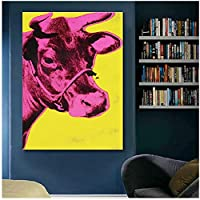 artaslf カラフルな牛の動物の絵画壁アートリビングルームの抽象的な写真モダンなキャンバスプリントポスター-60x90cmフレームなし