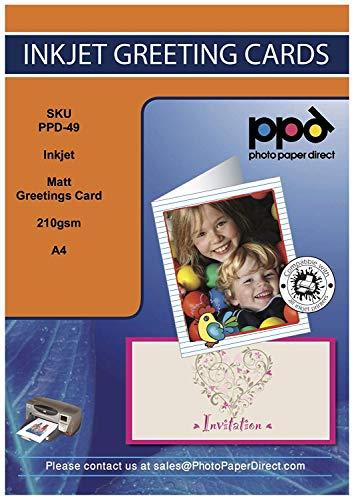 PPD Jet d'encre Mat carte de voeux papier Format A4 au format A5 230 g/m² X 15 feuilles Ppd-112-15