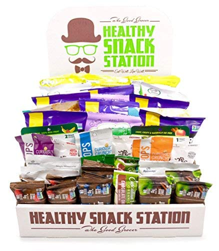All Natural Healthy Snack Station (50 Count) by The Good Grocer - Office Snacks, Variety Pack, School Lunches (Includes Display Box)