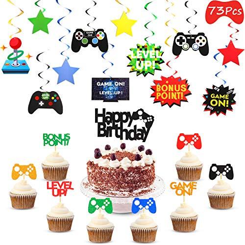 Outus 73 Stücke Video Gaming Party Lieferung Spiel Kuchen Cupcake Topper Video Spiel Hängend Strudel Dekoration Spieler Party Spiel Fächer Party Gefallen für Video Spiel Geburtstag Party