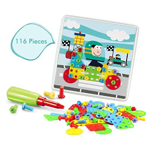 Hongfago Bohrmaschine Spielzeug Set, Puzzles Montage DIY Spielzeug, BAU Gebäude Spielzeug mit Schraubendreher Schrauben Pädagogisches Spielzeug Geschenkset Kinder Werkzeugkoffer für Jungen Mädchen