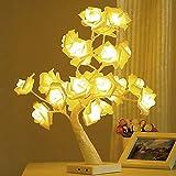 BSTOB Lámpara de Mesa, lámpara de luz de árbol bonsái Rosa de Escritorio, lámpara de árbol de luz de Hadas de 24 LED, luz Decorativa para Sala de Estar, Dormitorio (Dos Modos: USB/batería)