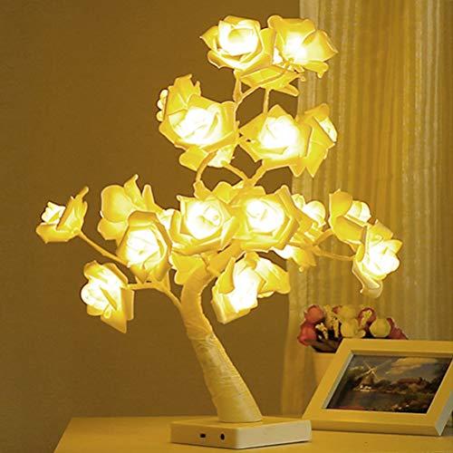 Fovely LED Baum Lampe,24 LED Rose Blume Tisch Nachtlicht LED Rose Baum Batteriebetriebenes Dekoratives Licht für Hochzeit Wohnzimmer Party Dekoration