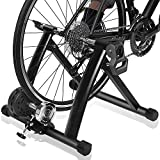 "Bike Trainer Stand – DRMOIS Portable Stainless Steel Indoor Exercise Bicycle Trainer Magnetic Flywheel, Stationary Bike Resistance Trainers for Road & Mountain Bikes with 26-29"" Wheel-Black"
