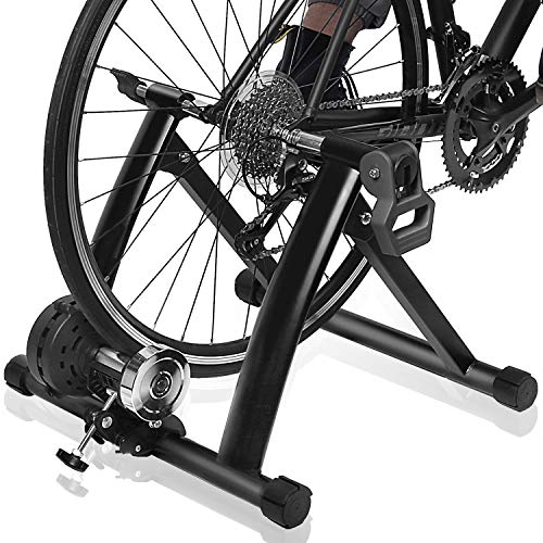 """Bike Trainer Stand – DRMOIS Portable Stainless Steel Indoor Exercise Bicycle Trainer Magnetic Flywheel, Stationary Bike Resistance Trainers for Road & Mountain Bikes with 26-29"""" Wheel-Black"""