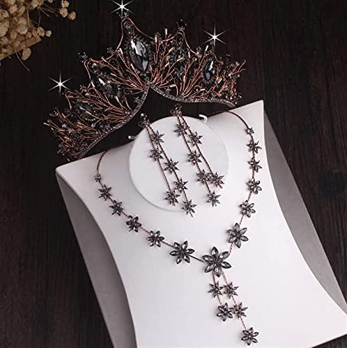 Conjuntos de joyería nupcial de hoja de cristal chapada en plata barroca Corona de diamantes de imitación Tiaras Gargantilla Collar Pendiente Conjunto de joyas de cuentas africanas (Color de me
