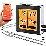 TURATA Bluetooth Bratenthermometer BBQ Grill Thermometer 50m Reichweite, App Steuerung, Zeitmesser, Japanische Sonde, Kabellos Fleischthermometer für Ofen Küche Smoker, Unterstützt iOS Android