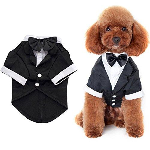 ANSIMITE 蝶ネクタイがめちゃキュート 犬 猫 服 タキシード 燕尾服 黒リボン 小型 中型 大型 サイズいろいろあります ブラック (XL, ブラック)