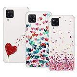 Young & Min Funda para Samsung Galaxy M12 /Galaxy A12, (3 Pack) Transparente TPU Carcasa Delgado Anti-Choques con Dibujo de Corazón