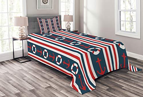 ABAKUHAUS Nautisch Tagesdecke Set, Stripes Maritime Icons, Set mit Kissenbezug Klare Farben, für Einselbetten 170 x 220 cm, Indigo Red White