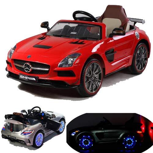 Mercedes-Benz SLS AMG viele LED Effekte Soft Start Kinderauto Kinderfahrzeug Kinder Elektroauto (Rot)