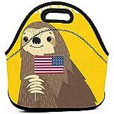 Bolsa de almuerzo portátil Tote Sloth Bienvenido a América Bolso de almuerzo de neopreno Caja de almuerzo de almacenamiento de cremallera de alimentos para hombres Mujeres Niños