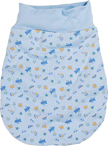 Schnizler Kleinkinder Strampelsack aus Baumwolle, praktischer Pucksack mit elastischem Umschlag-Bund, mit Auto-, Flugzeug-, Stern-Muster