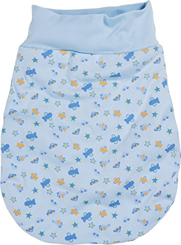 Schnizler Katoenen strampelzak voor kleine kinderen, praktische rugzak met elastische omslagband, met auto-, vliegtuig-, sterrenpatroon