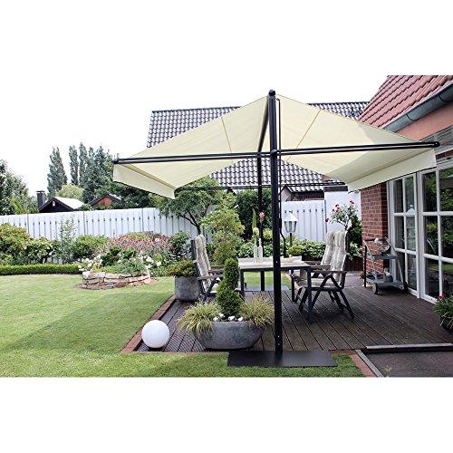 Leco 28100103 Design Doppelmarkise, Aluminium mit Pulverbeschichtung in anthrazit / schwarz / metallic, 100 % Polyester in natur - 3