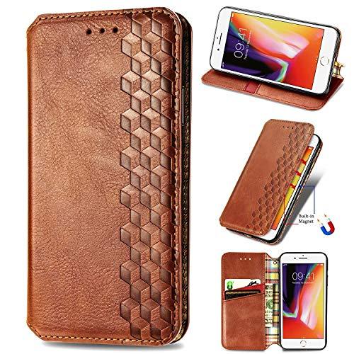 Miagon iPhone 7/8 Mode Hülle,Retro PU Leder Flip Brieftasche Abdeckung Magnetverschluss Folio Ständer Kartensteckplätze Handyhülle,Braun