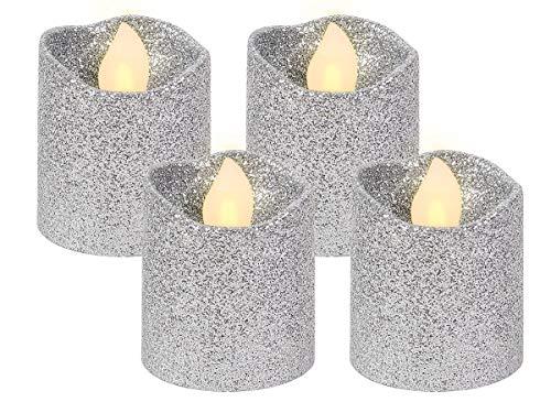 Alsino LED Teelicht flammenlose Teelichter Kerze Silber Glitzer 120 Stunden Brenndauer inklusive Batterien TL-10, wählen:4 Stück
