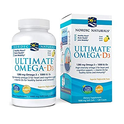 Nordic Naturals Ultimate Omega-D3, Lemon Flavor - 1280 mg Omega-3 + 1000 IU Vitamin D3 - 120 Soft Gels - Omega-3 Fish Oil - EPA & DHA - Promotes Brain, Heart, Joint, & Immune Health - 60 Servings
