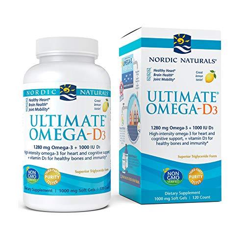 Nordic Naturals Ultimate Omega-D3, Lemon Flavor - 1280 mg Omega-3 + 1000 IU Vitamin D3-120 Soft Gels - Omega-3 Fish Oil - EPA & DHA - Promotes Brain, Heart, Joint, Immune Health - 60 Servings