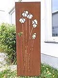 Zen Man Edelrost Garten Sichtschutz aus Metall 1mm Rost Gartenzaun Gartendeko Rost Sichtschutzwand 031925-1 B50 H150cm