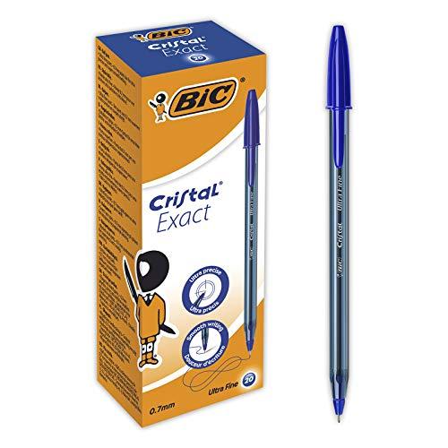 BIC Cristal Exact Bolígrafos Punta Fina (0,7mm) - Azul, Caja de 20Uds.