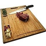 NIUXX Tagliere Rettangolare in bambù Premium Organico, Tagliere Reversibile con 3 Scomparti Incorporati e Scanalature per Succhi, Grande Vassoio per Tagliare 43 x 32 x 2 cm, Ideale per Cucine