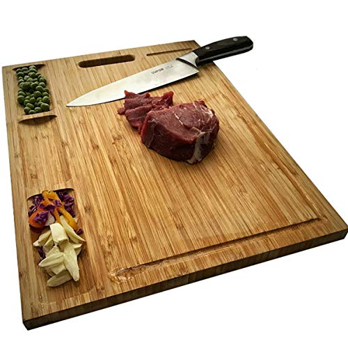 NIUXX Organic Bamboo Cutting Board for Kitchen, Reversible Chopping Board with 3 Built-in Compartments and Juice Grooves, Large Chopping Tray 43 x 32 x 2 cm, Meats Vegetable Bread Fruits Board