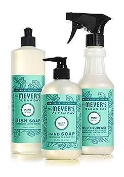 Mrs Meyers Kitchen Basics Bundle  3 items -  1  Dish Soap  1  Hand Soap  1  Everyday Cleaner  Mint