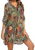 Davicher Cubre bikini mujer traje de baño camisa estampado leopardo camisa bluse cover up V vestido de playa playa playa pareo cubre túnica playa bikini Cover Up, verde claro, M