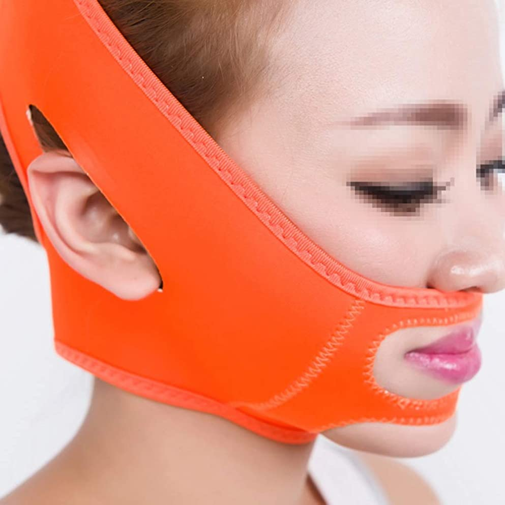 大気予想外さらに薄型フェイスベルト、Vフェイス付きスリープマスク包帯引き締めリフティングフェイスダブルチンフェイスマスクマルチカラーオプション (Color : Orange)