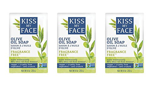 Kiss My Face Naked Pure Olive Oil Moisturizing Bar Soap, 8 Ounce, 3 Count
