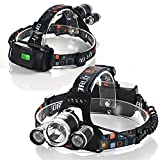 Ultra-Bright Headlight 4 Modes ipx4 Waterproof 6000 max Lumens Adjustable Headlamps for Hunting/Running/Outdoors/Fishing Head Torch LED