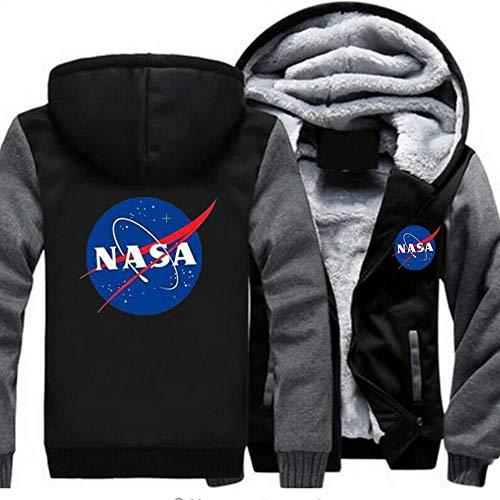 nveada Astronaut NASA Space Agency Winter Verdicken Plus-Velvet-Cardigan Mit Reißverschluss Kapuzenpullover Herren Jacke Black-2-M
