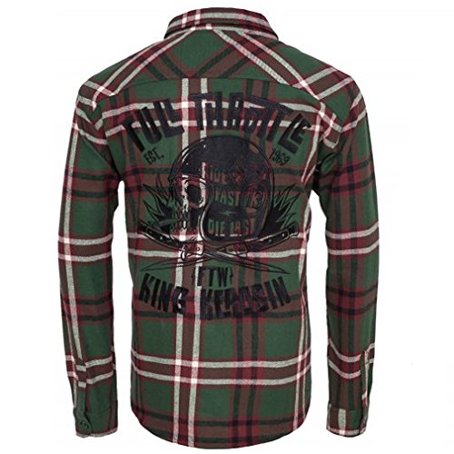 King Kerosin Heren Biker houten hemd - Full Throttle groen flanel shirt