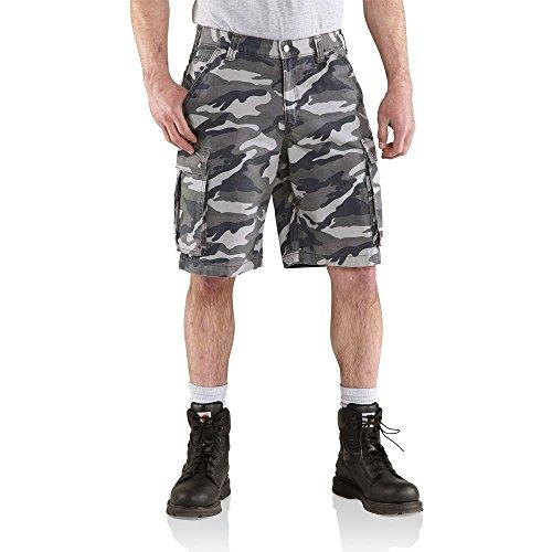 Carhartt - Pantaloncini da uomo Rugged Cargo Camo, 34W, Robusta mimetica grigia, 1
