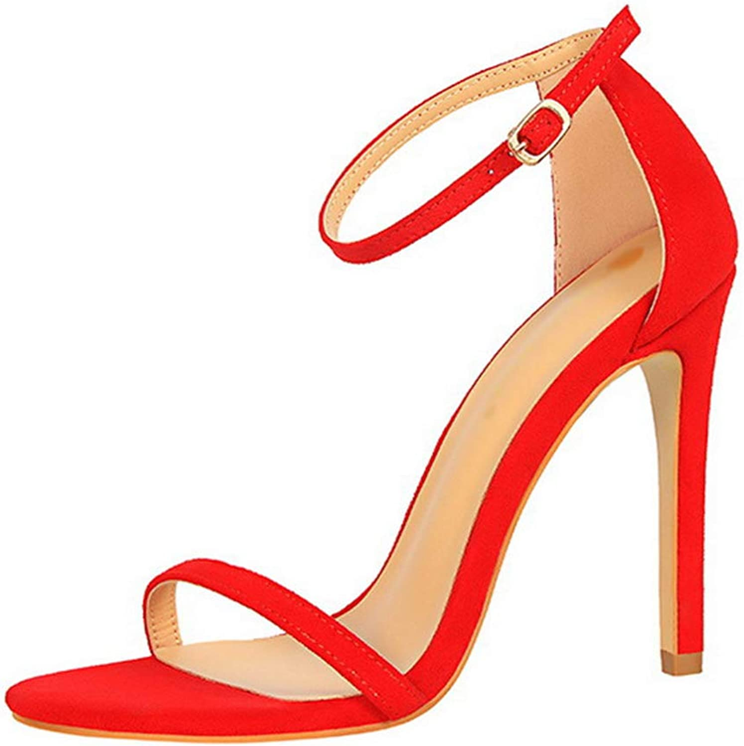 Drew Toby Women High Heels Concise Summer Peep Toe Fashion Buckle Office Sandals 11cm