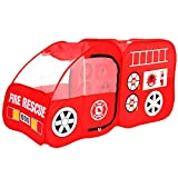 Georgie Porgy Kids Play Tent Fire Engine Tent Car Game Toy Foldable Portable Fire Rescue Playhouse Toy Gifts for Children Girls Boys Indoor and Outdoor Use (Fire Truck)