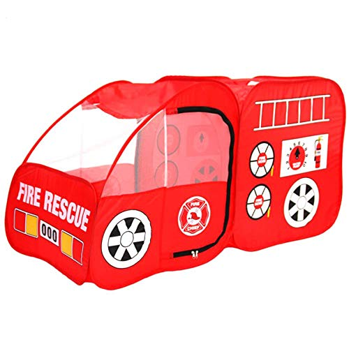 Georgie Porgy Feuerwehrauto Spiel Kinder Pop Up Spielzelt, Feuerrettungsspielhaus Auto Spiel Spielzeug Faltbare Tragbares Spielhaus Indoor Outdoor Für Jungen Mädchen Vorschulkindergarten Feuerwehrauto