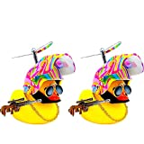 Grneric Car Trim Bicycle Accessories Suit Cool Glasses Duck with Propeller Helmet (2 Pack) (Rainbow color2) Cool car Decoration Man Woman Children's Rubber Duck Fun Toy