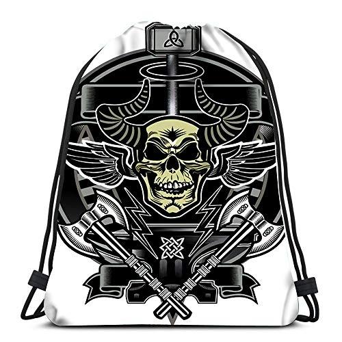 Drawstring Backpack Bags Thors Hammer Skull Sport Storage Polyester Bag For Gym