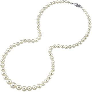 THE PEARL SOURCE 14K Gold 4-9mm AAA Quality Graduated Round White Freshwater Cultured Pearl Necklace for Women