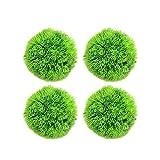 Mrisata Plantas de pecera – 4 bolas de algas marinas, decoración de pecera, decoración de pecera, decoración de plantas de plástico artificial, color verde