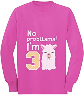 Gift for 3 Year Old No Probllama 3rd Birthday Toddler/Kids Long Sleeve T-Shirt