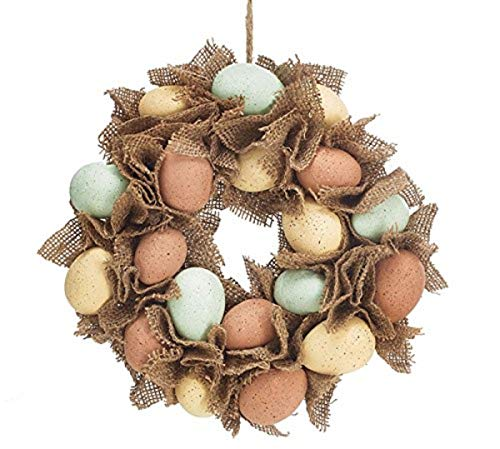 Speckled Easter Eggs Burlap Wreath, 12 Inch