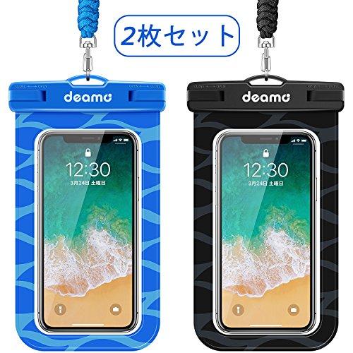 防水ケース「2枚入」スマホ防水ケース IPX8認定獲得 iPhone11 pro Max/Xs Max/8 Plus/7plus、Xperiaシリーズ 、SHARP、Samsung等全機種対応 、海 プール 釣り 砂浜 ダイビング お風呂 水遊び等で大活躍 高級ネックストラップ付属 防水携帯ケース スマホ用防塵・防水ケース (黒+ブルー)
