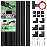 Cable Concealer, PVC Cord Cover, 94.5in Paintable Cord Hider to Hide Wires for TV & Computers in Home Office 6X L15.75in W1.18in H0.67in, CC02-Black