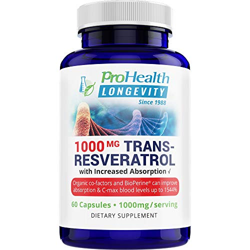 ProHealth Longevity 1000 mg Trans Resveratrol Plus 420 mg Organic Polyphenol Complex That Improves Absorption up to 1544% – Supports Anti Aging, Brain, Heart and Immune Function