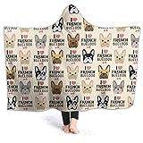 JASMODER I Love French Bulldog Hoodie Blanket Wearable Throw Blankets for Couch Blanket Hooded for Baby Kids Men Women